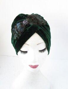 Image is loading Dark-Emerald-Green-Black-Feather-Turban-Headpiece-1920s- bd72de7bd6d