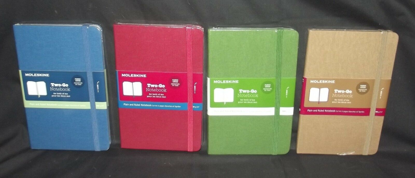 Set of 4 Moleskine Two-Go Fabric Cover Notebooks and 12 Watercolour Pencils