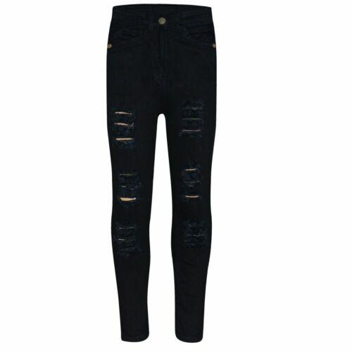 Kids Girls Skinny Jeans Jet Black Denim Ripped Fashion Stretch Pants Jeggings
