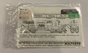 """WALTHERS N SCALE DECAL - NORFOLK & WESTERN HOOD DIESEL """"NW"""" 838-74770"""