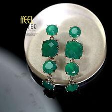 Earring Stud Gold Green Emerald Round Square Drop Pendant Vintage Retro Long L9