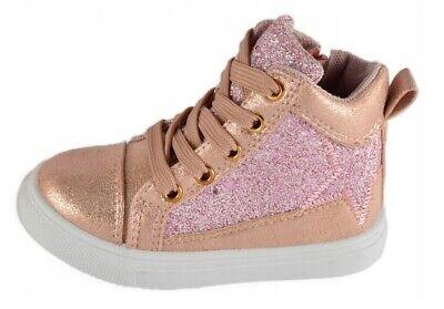 Glitter Filles Toile Baskets Taille 8.5 UK 12 NEW Toddler Kids Shimmer