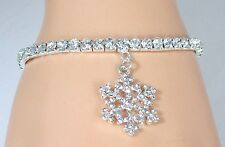 NEW Stretch Tennis Ankle Bracelet Crystal Swarovski Crystal Snowflake Charm