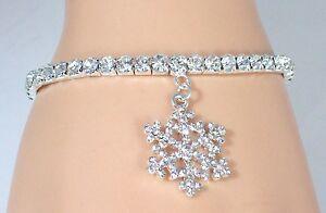Details About New Stretch Tennis Ankle Bracelet Crystal Swarovski Snowflake Charm