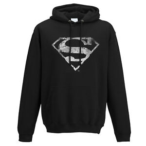 Official-Superman-Logo-Hoodie-Pullover-Top-Black-Mono-Distressed-S-M-L