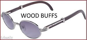 a80f0a63258c Image is loading OVAL-WOOD-BUFFS-SUNGLASSES-GLASSES-SILVER-METAL-FRAME-