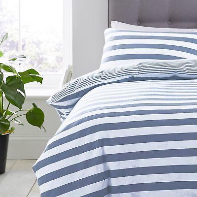 Silentnight Jersey Cotton Stripe Duvet Cover & Pillowcase Bedding Set, Denim