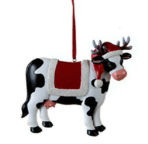 Christmas Cow.Details About Kurt Adler Resin Christmas Dairy Cow Wearing Reindeer Antlers Christmas Ornament
