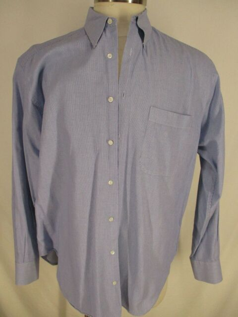 Armani Collezioni Mens Blue Microcheck Long Sleeve Cotton Dress Shirt 42 16.5-35