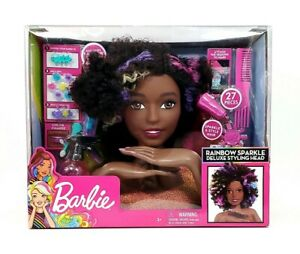 Just Play Barbie Rainbow Sparkle Deluxe Styling Head Afro Hair