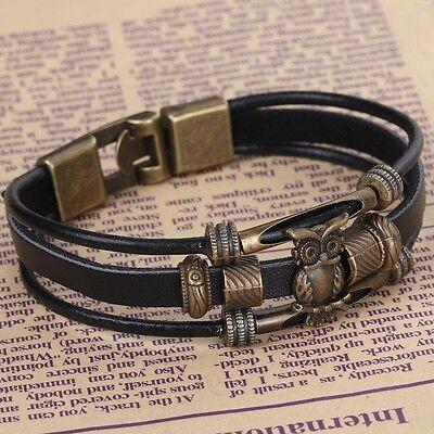 YazilindGift Multi-Layer Leather Bronze Owl Wristband Wrap Belt Bangle Bracelet
