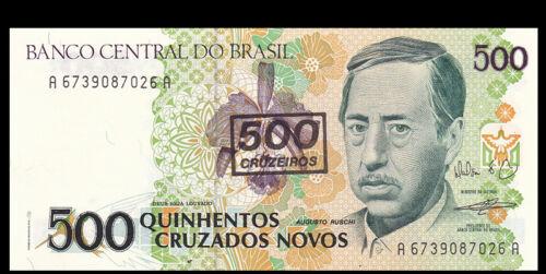 Banknotes Brazil 500 Cruzeiros on 500 Original P-226b UNC 1990