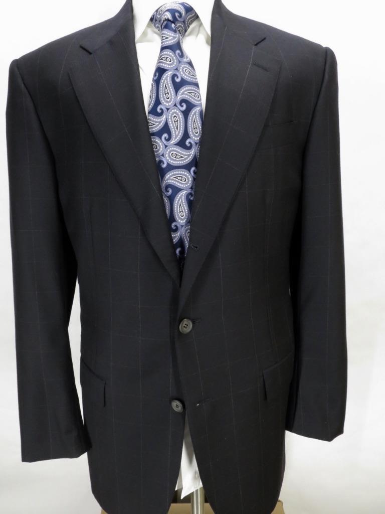 Stunning ISAIA midnight navy windowpane 3-roll-2 suit 42 R slim Mint  (MN4713)