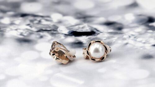 Boucles d/'oreilles CLIP ON Puces Doré Rond Ciselé Floral Perle Blanc Simple J14