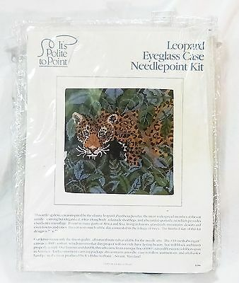 Needlepoint leopard eyeglass case by its polite to point panthera pardus new