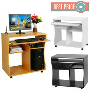 Details about Compact Small Computer PC Table Wooden Desk Keyboard Tray  Storage Shelf Corner