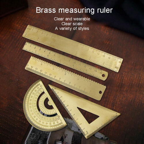 Brass Triangle Ruler Retro Straightedge Protractor Wave Drawing Measurement Tool