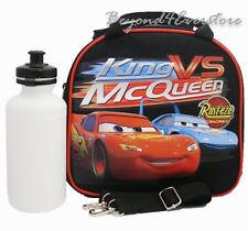 Disney Cars Shoulder Strap Insulated Black School Lunch Bag w Water Bottle