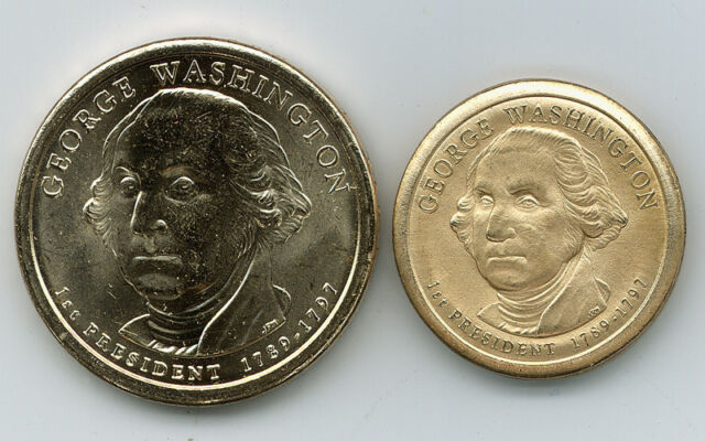 Uncirculated Washington Dollar, magnetically SHRUNK to diameter of a nickel!
