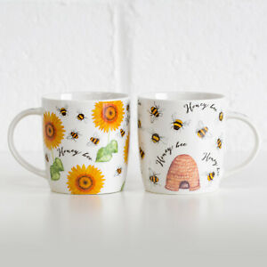 Set of 4 Honey Bumble Bee Floral Mugs Fine China 350ml Tea Coffee Cups Home Gift