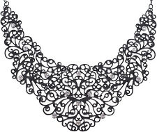 Schwarze Vintage ORNAMENT Strass STATEMENT Halskette / Necklace Rockabilly