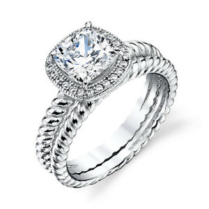 Sterling Silver Cushion Cut CZ Engagement wedding ring set woven cable shank