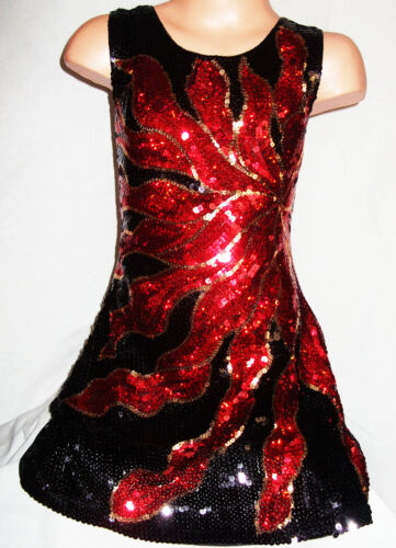 GIRLS 60s BLACK RED FIRE FLAME PATTERN SPARKLING SEQUIN DISCO DANCE PARTY DRESS