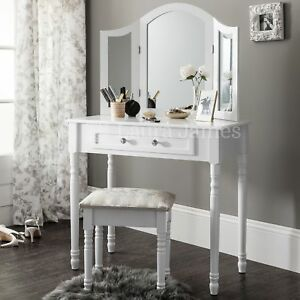 Sienna | White Dressing Table, Mirror & Stool Set Dresser | eBay