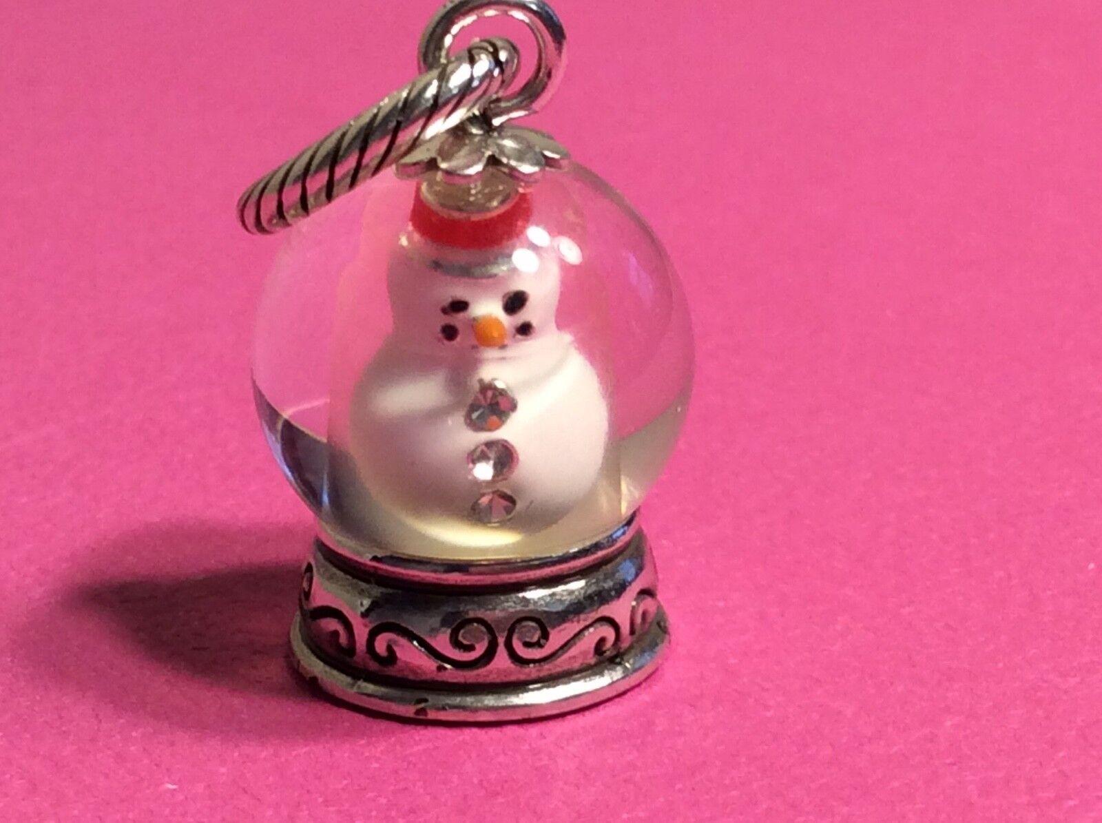 BRIGHTON Snowman Snowglobe Christmas Charm- Retired   Rare & hard to find   NEW