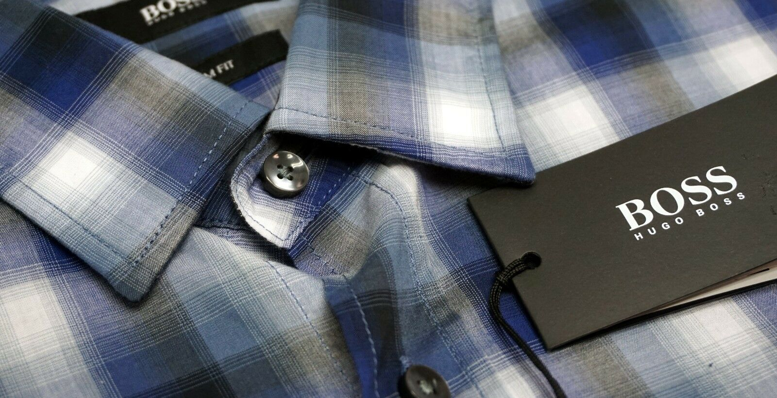 NWT  Hugo Boss Slim Fit Plaid bluee White Shirt Mens L XL 2XL Long Sleeve NEW