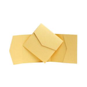 Pocket wedding Invites Yellow Pocketfold invitations with envelopes Wallet