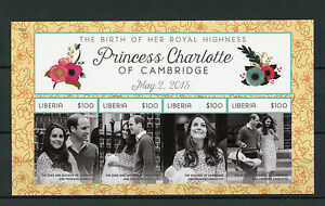 Liberia 2015 MNH Birth Princess Charlotte of Cambridge Royal Baby 4v Imperf M/S