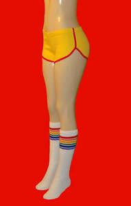 Gold Retro Shorts w/Red trim and Rainbow socks - Small