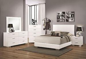 volga ultra modern 5pcs glossy white queen king platform bedroom set