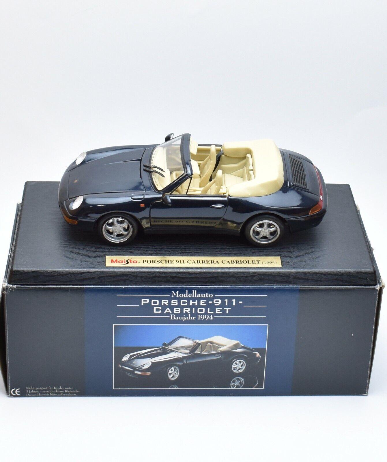 PORSCHE 911 Cabriolet Année de construction 1994 in Laqué Noir, Maisto, 1 18, NEUF dans sa boîte, k060
