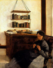 Oil painting Louis Eysen - The Artist's Mother old woman sewing in room canvas