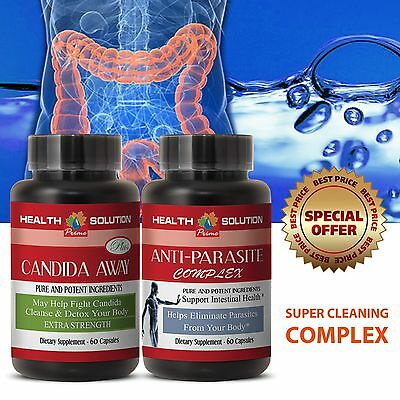 Remove Parasite - ANTI PARASITE COMPLEX & CANDIDA AWAY Body Cleanse 1+1