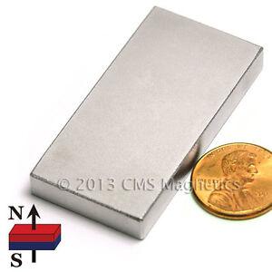 "CMS Magnetics® Powerful N45 Neodymium Rectangular Magnet 2""x 1""x 1/4"" 4-pc"