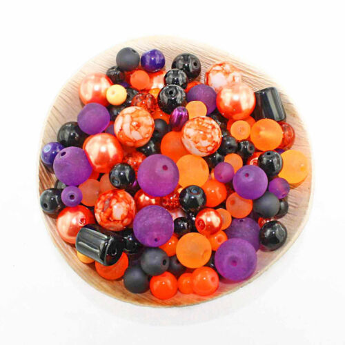 Glass Bead Mix Assorted 100 Halloween Color Combination 6mm to 12mm BMX047