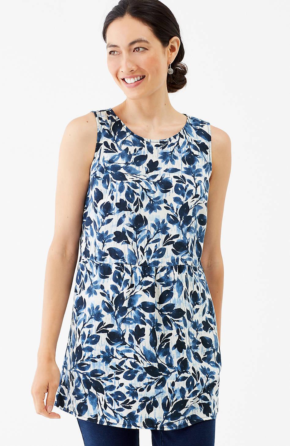 NWT - J. Jill - XL - Beautiful Pure Jill Tencel Cream Batik Trellis Print Tunic