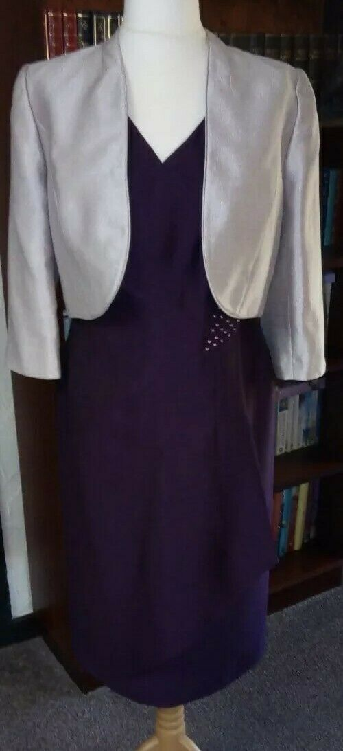 Complete JACQUES VERT Plum/Oyster wedding outfit *dress/jacket/shoes/bag*