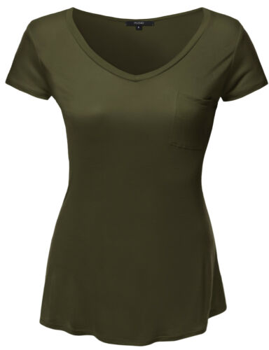 FashionOutfit Women/'s Solid Basic V-Neck Relaxed Loose Tee Shirt Top Plus Size