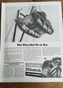 1942 WWII era BF Goodrich tires go to see military tank on crane ad