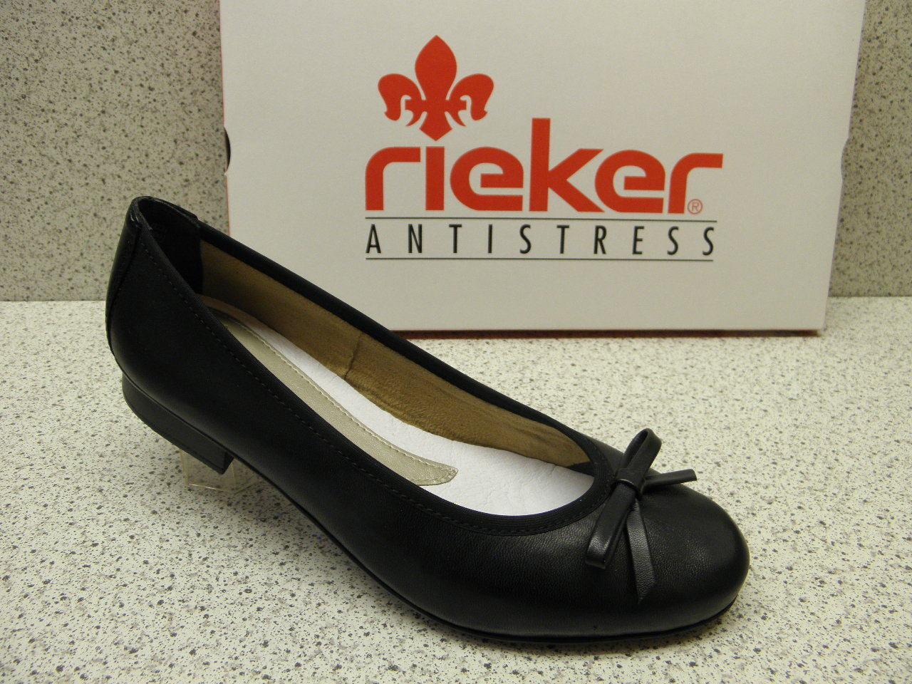 rieker ®  ROTuziert  Top Ballerina superbequem Leder schwarz  (R460)