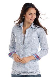 Panhandle-Slim-Women-039-s-Vintage-Blue-amp-White-Paisley-Snap-Up-Shirt-R4S1516
