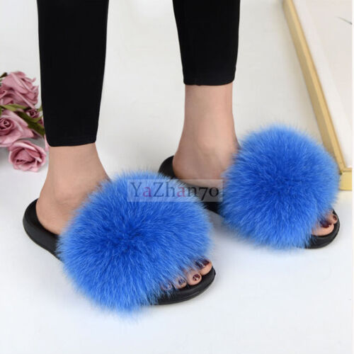 Women Fluffy 100/% Real Fox Fur Slides Slippers Indoor Sandal Outdoor Flat Shoes