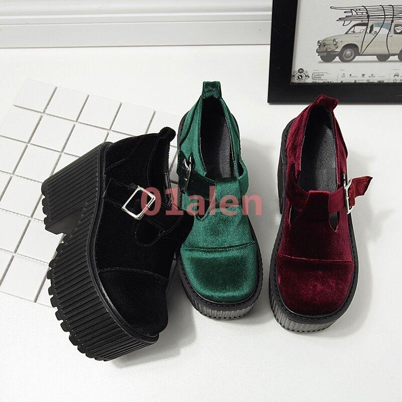 Womens Velvet Round Toe Platorm High Chunky Heels Gothic Creeper Shoes  Japanese