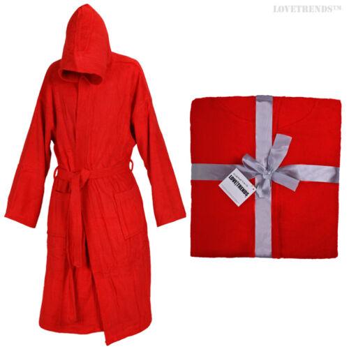 RED HOODED BATHROBE 100/% COTTON M L XL XXL PRESENT GIFT MENS LADIES GOWN ROBE