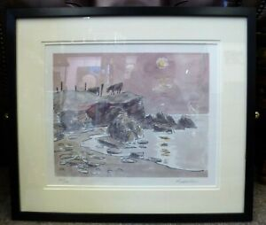 Kyffin Williams RA Framed limited addition signed print Porth Cwyfan Anglesey