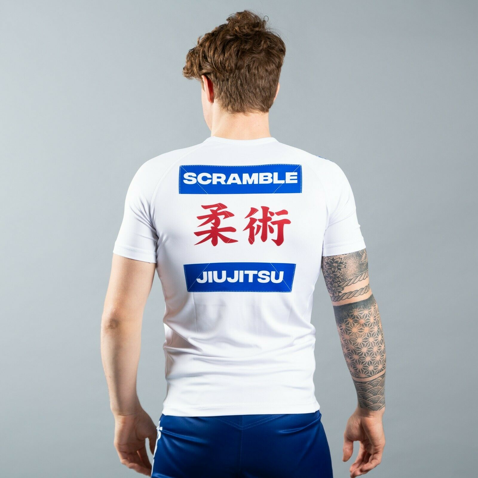 Scramble Shiai Rashguard White Jiu Jitsu BJJ No Gi Grappling Rash Guard